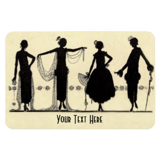 1920's Flapper Fashion Silhouette Fridge Magnet