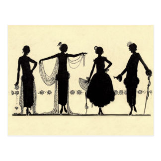 1920's Flapper Fashion Silhouette Postcard