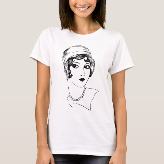 1920s Flapper girl fashion drawing T-Shirt