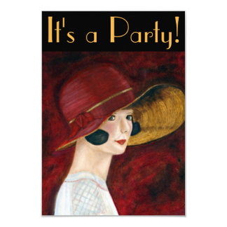 1920s Flapper Girl in Red Hat Roaring Twenties 3.5x5 Paper Invitation Card