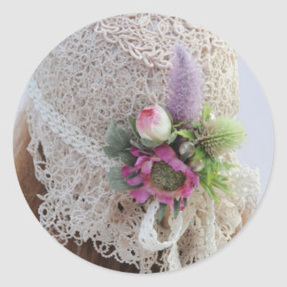 1920's Flapper Wedding Hat Round Sticker
