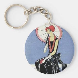 1920s Flapper with Umbrella Basic Round Button Key Ring