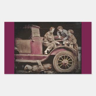 1920's Girl Auto Mechanics Rectangle Stickers