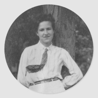 1920's Girl by Tree Round Sticker