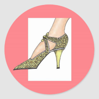 1920s High Heeled Shoe Round Sticker