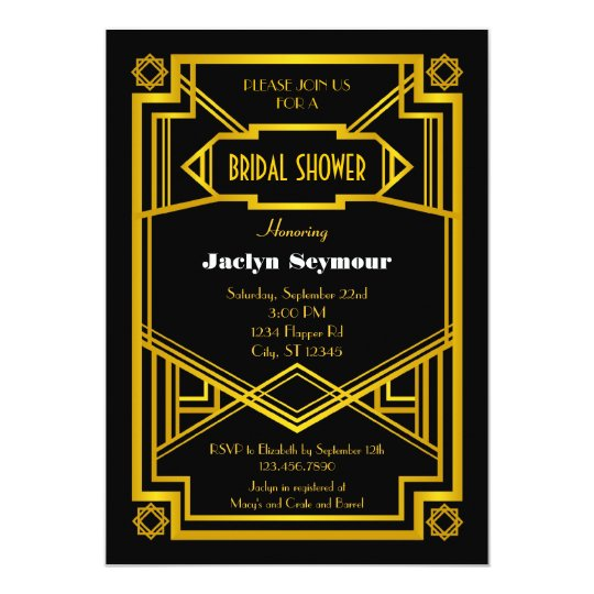 1920s Hollywood Style Bridal Shower Invitation