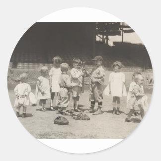 1920's Kids Playing on League Baseball Field Round Sticker