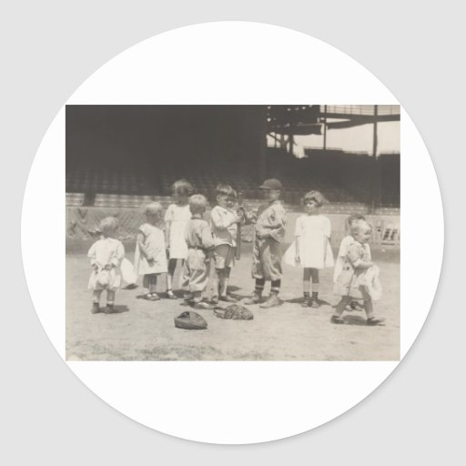 1920's Kids Playing on Major League Baseball Field Round Stickers