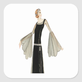 1920's Ladies Fashion Illustration Square Sticker