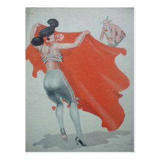 1920s Lady Bullfighter Holds Them Off Postcard