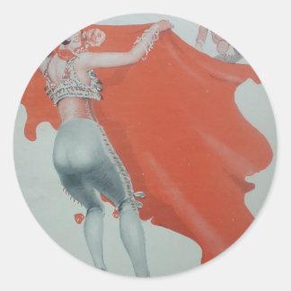 1920s Lady Bullfighter Holds Them Off Round Sticker