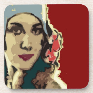 1920s Lady in a Blue Hat Coaster