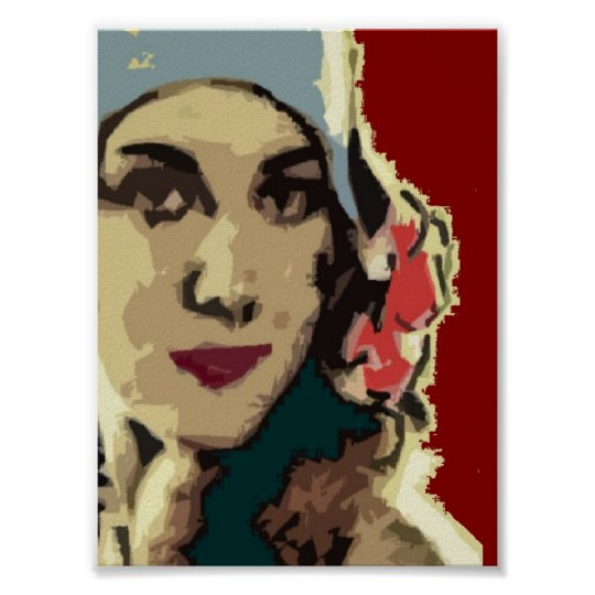 1920s Lady in a Blue Hat Poster