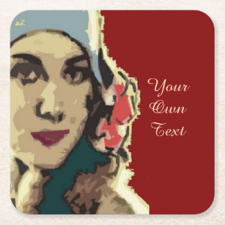 1920s Lady in a Blue Hat Square Paper Coaster