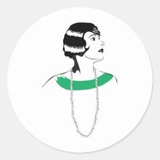 1920's Lady Round Sticker