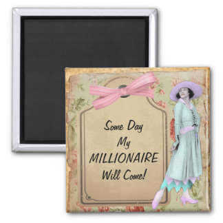 1920's Lady Waiting For Millionaire Square Magnet