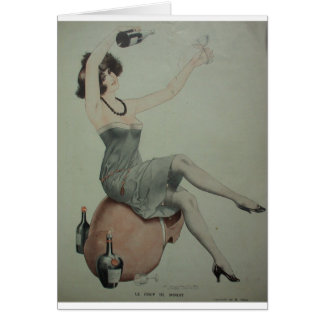 1920s Leggy Flapper Champagne Girl Drinking Wine Card