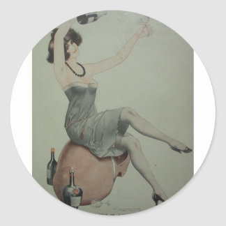 1920s Leggy Flapper Champagne Girl Round Sticker