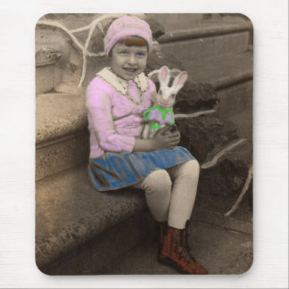 1920s little girl with bunny doll Happy Easter Mouse Mat