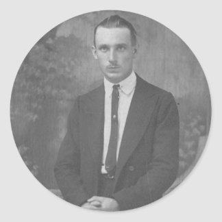 1920's Man Standing Round Stickers