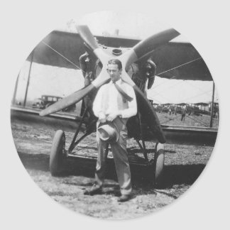 1920's Man with Airplane Round Sticker