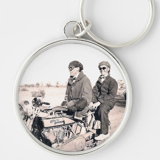 1920's Men Riding Motorcycle Keychain