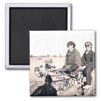 1920's Men Riding Motorcycle Magnet