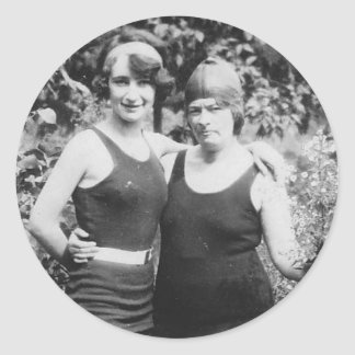1920's Mother and Daughter in bathingsuits Round Sticker