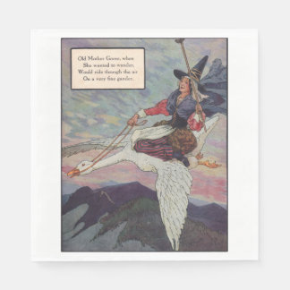 1920s Mother Goose riding her giant goose Disposable Napkin
