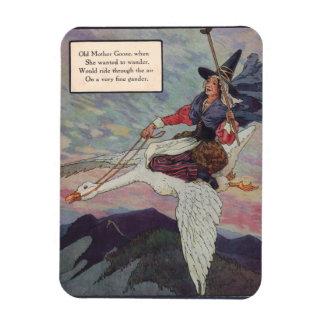 1920s Mother Goose riding her giant goose Rectangular Photo Magnet