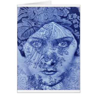 1920s movie star Gloria Swanson in blue Card