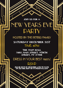 1920s new years eve invite gatsby party gold