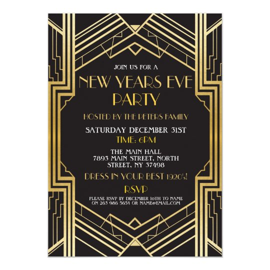 1920's New Years Eve Invite Gatsby Party Gold