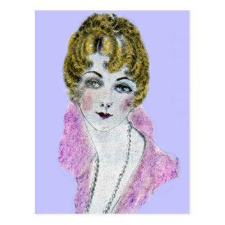 1920s pretty blonde lady postcard