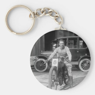 1920s Racing Motorcycle Basic Round Button Key Ring