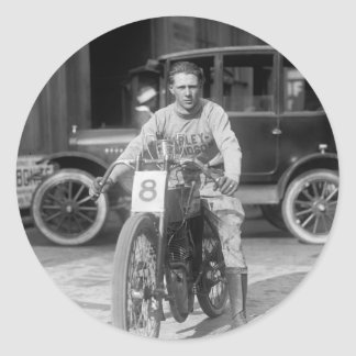 1920s Racing Motorcycle Round Sticker