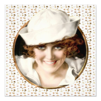 1920s Sailor Girl Beach Party 13 Cm X 13 Cm Square Invitation Card