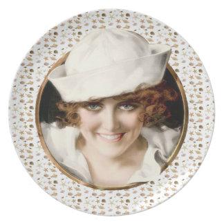1920s Sailor Girl Dinner Plates