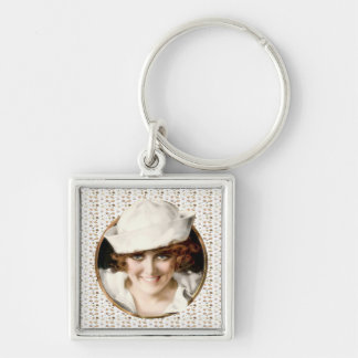 1920s Sailor Girl Silver-Colored Square Key Ring