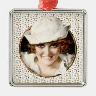 1920s Sailor Girl Square Metal Christmas Ornament
