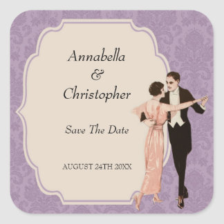 1920's Save The Date Vintage Dancing Couple Square Stickers