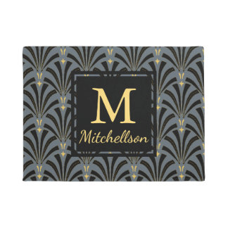 1920s Sophisticated Fans Pattern - Family Name Doormat