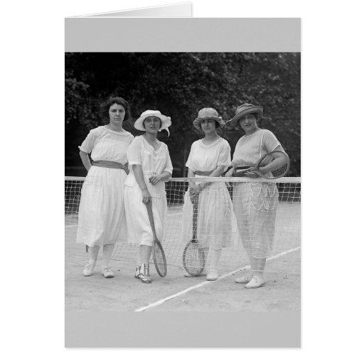 1920s Tennis Fashion Greeting Cards
