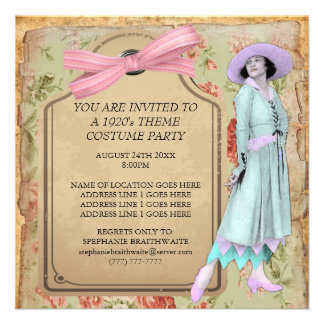 1920's Theme Costume Party Invitation