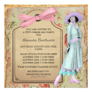 1920's Theme Hen Party Invitation