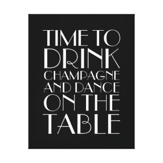 1920's Time to Drink Champagne Canvas black&white Canvas Print