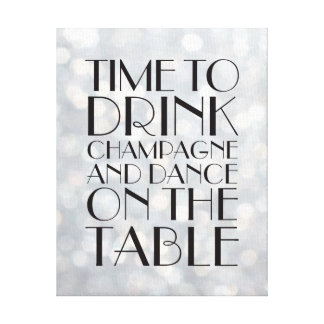1920's Time to Drink Champagne Canvas silver Gallery Wrapped Canvas