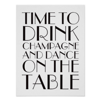 1920's Time to Drink Champagne Poster white