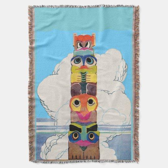 1920s totem pole throw blanket