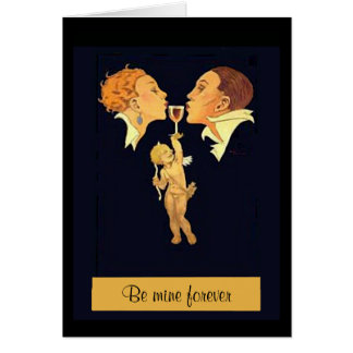 1920's Valentine Kiss Greeting Card